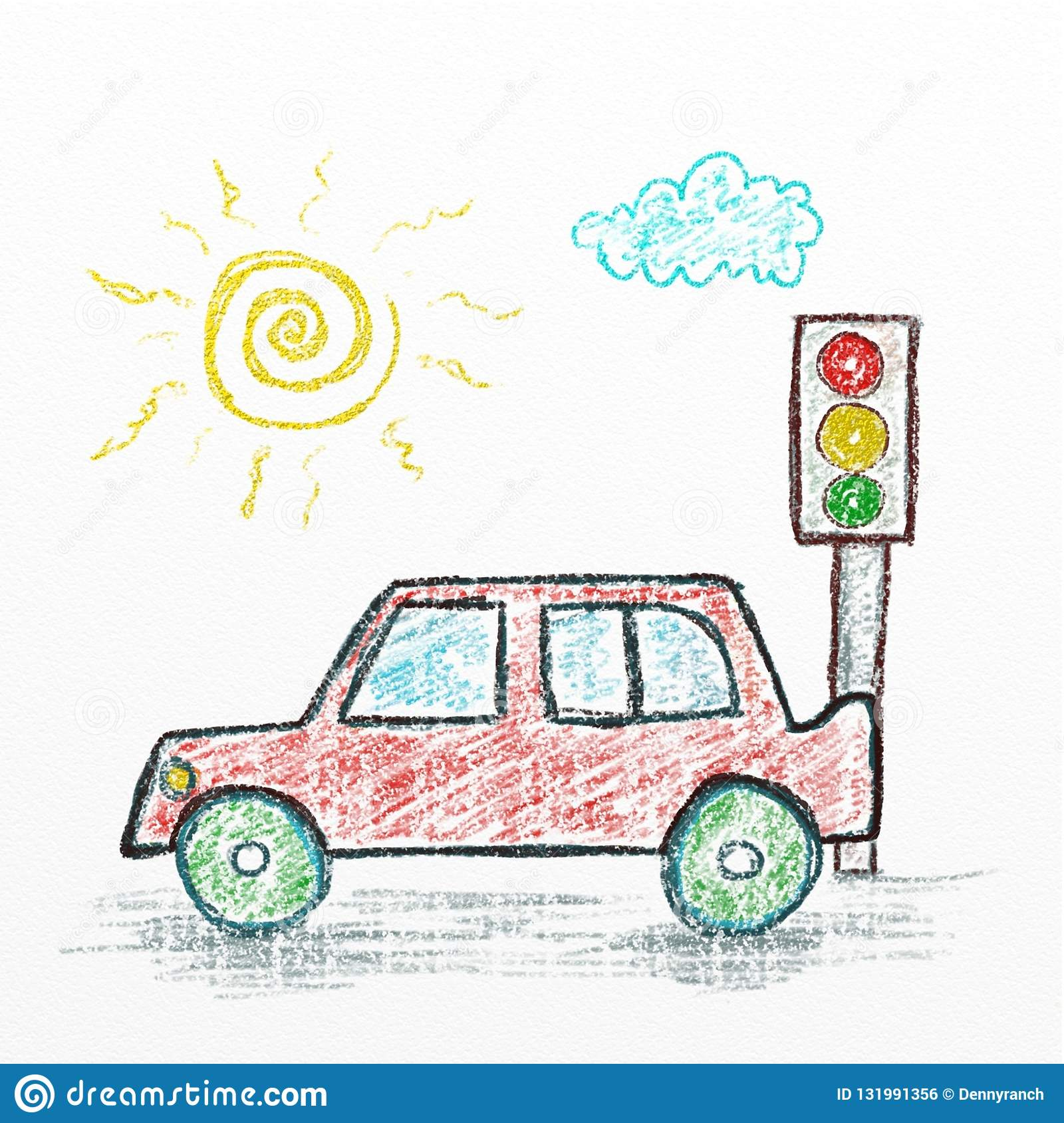 Car Cartoon Kids Drawing Style Illustration Crayon Art Stock