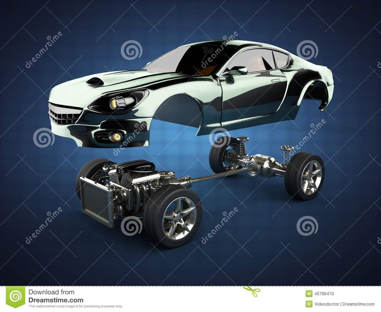 Download Car Chassis With Engine Of Luxury Brandless Sportcar Stock  Illustration   Illustration Of Body,