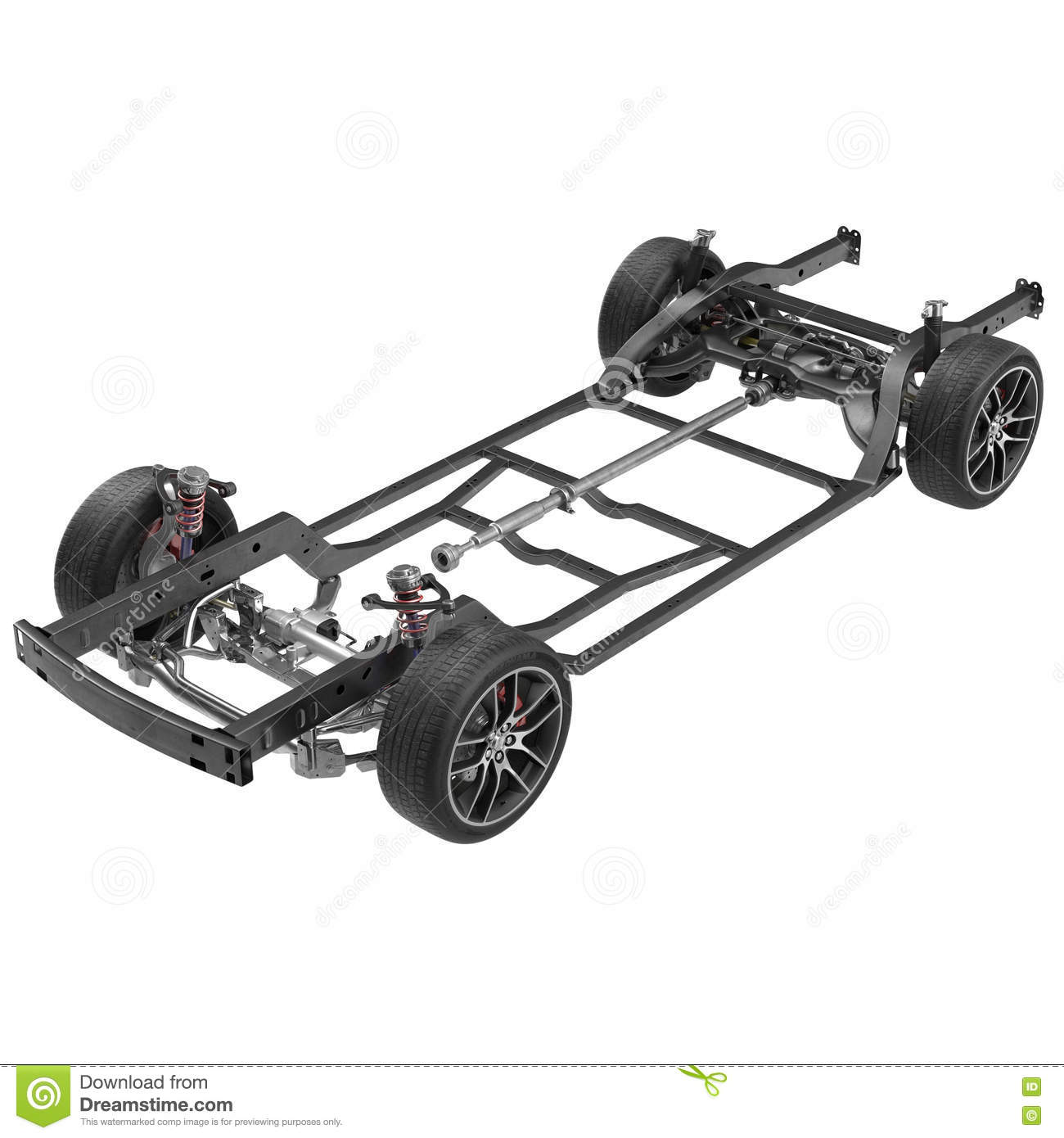 Car Chassis Isolated On White. 3D Illustration Stock Illustration ...