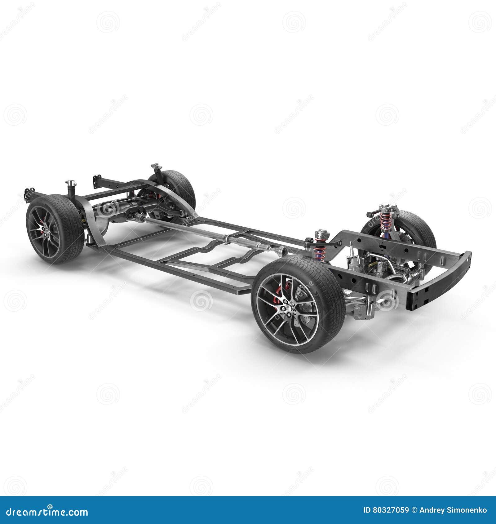 Car Chassis On White. 3D Illustration Stock Illustration ...