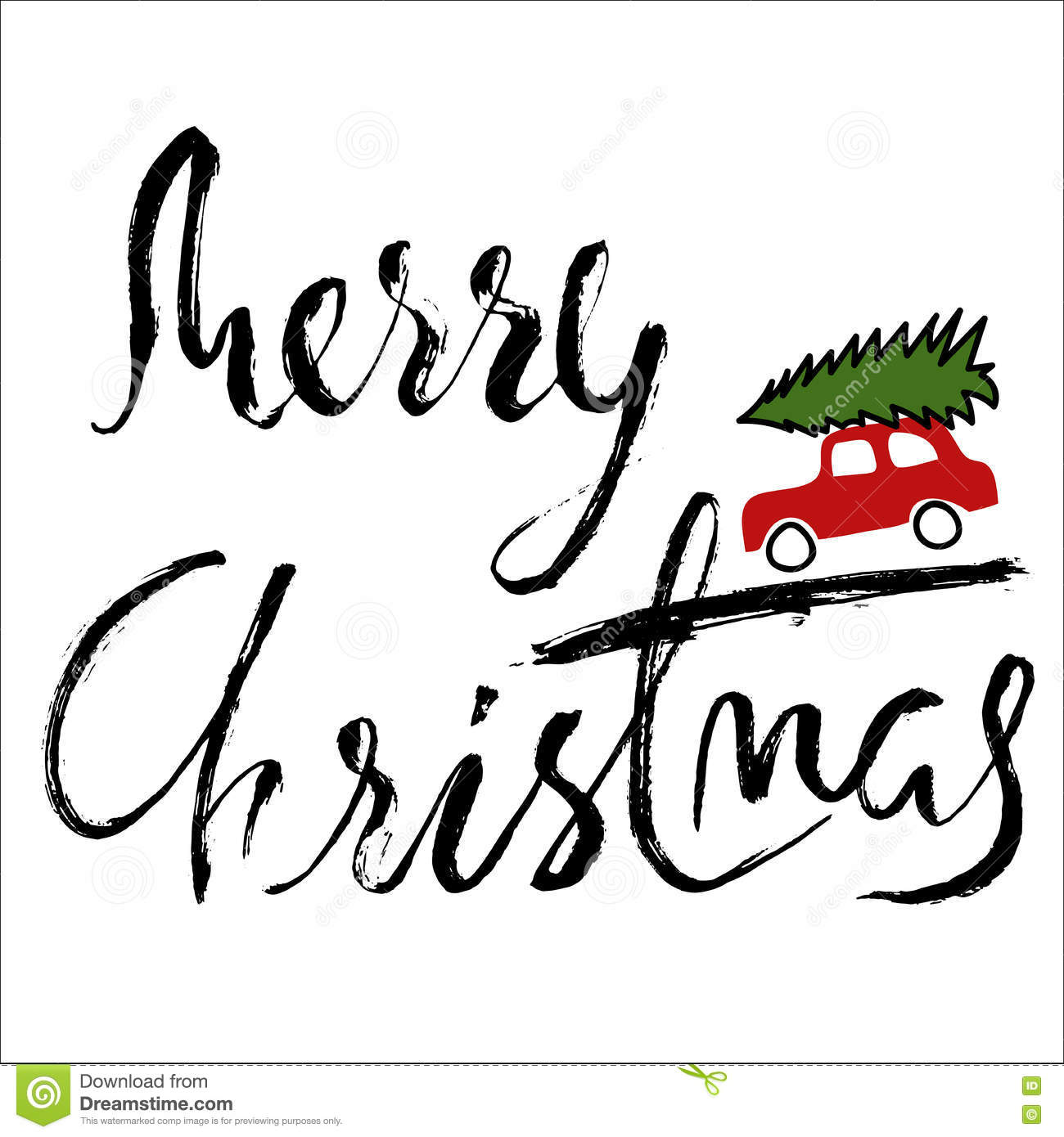 Car with a christmas tree merry handwritten