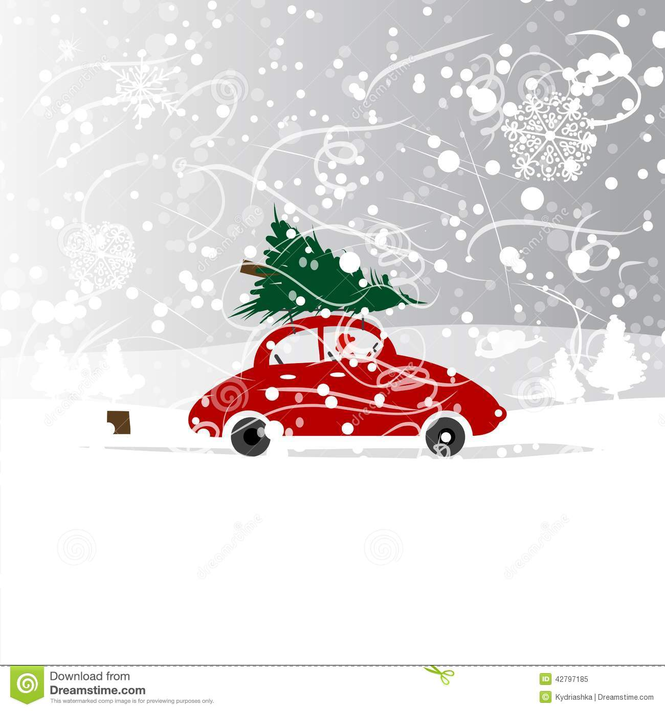 Car With Christmas Tree Winter Blizzard For Your Stock Vector  - Christmas Tree On Car