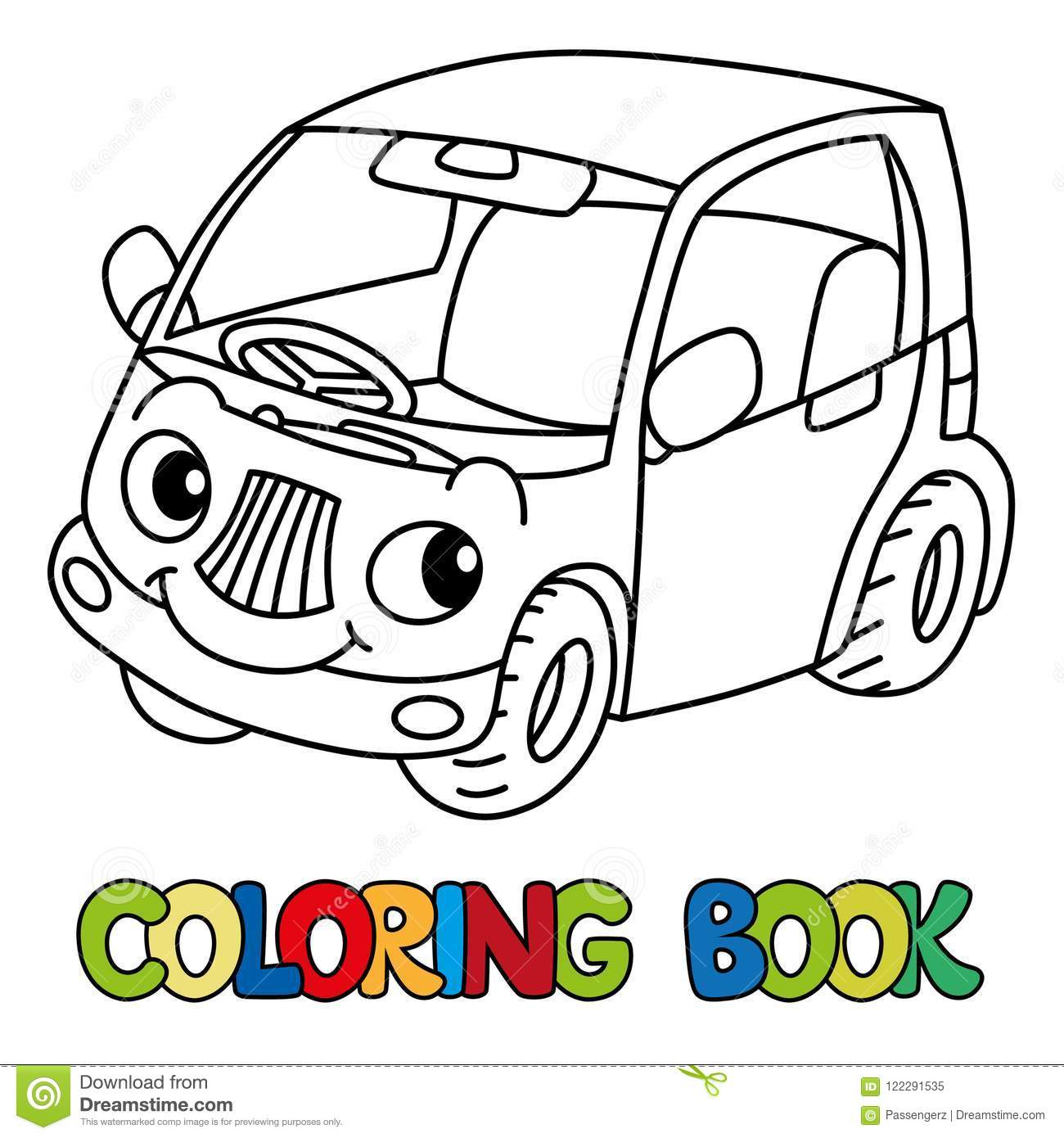 Funny Small Car With Eyes. Coloring Book Stock Vector - Illustration ...