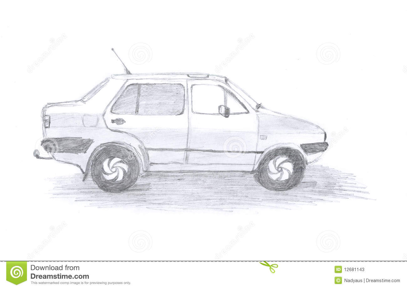 Car concept, sketch stock illustration. Image of concept - 12681143