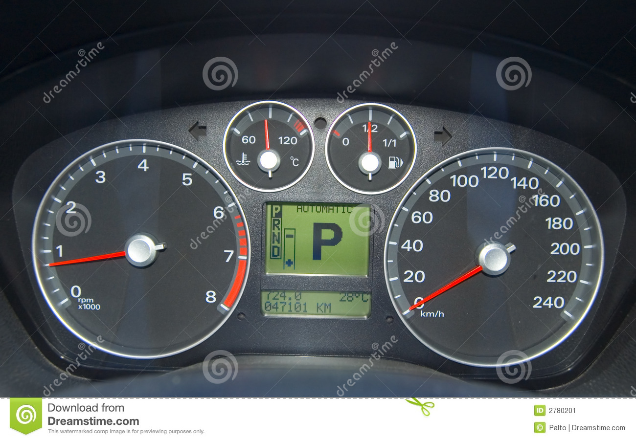 Vehicle Control Panel : Car control panel stock image of glowing dash