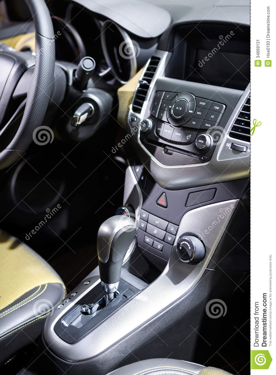 car control panel and automatic transmission stock image image 34669131. Black Bedroom Furniture Sets. Home Design Ideas