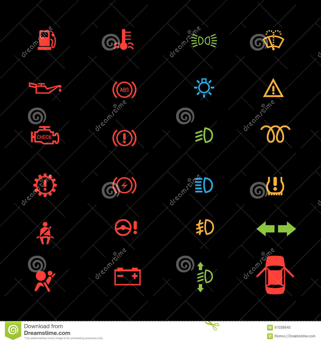 Car Control Panel Icon Stock Vector Image 67038940