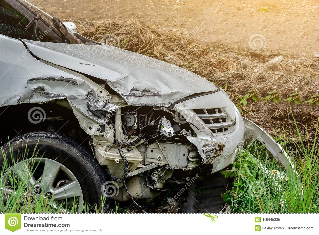 Car accident out of the road