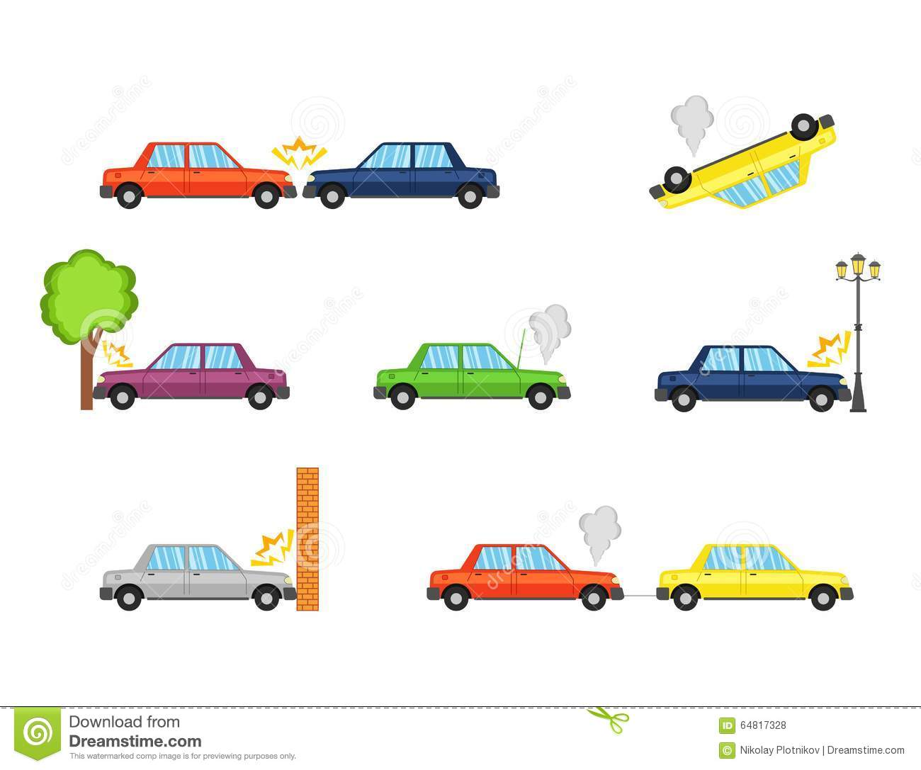 Car Crash And Accidents, Flat Icons. Stock Vector