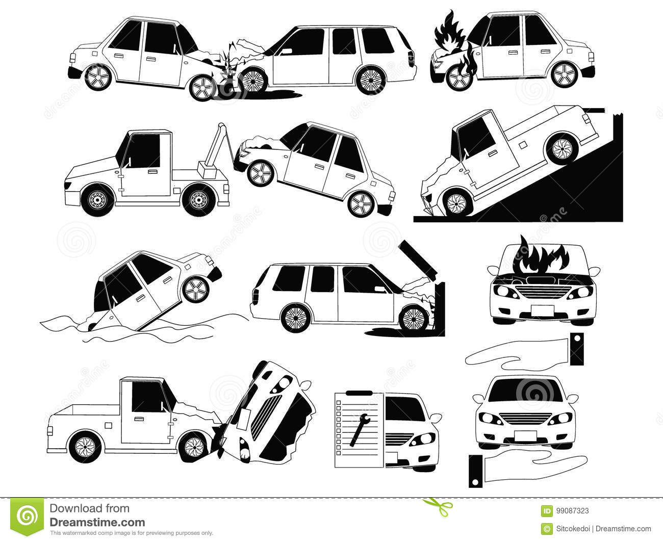 Car Crash And Accidents On The Road Icons Stock Vector