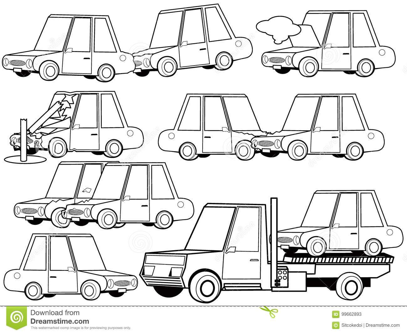 Car Crash And Car Accident Structure Icons Set Outline Concept ...