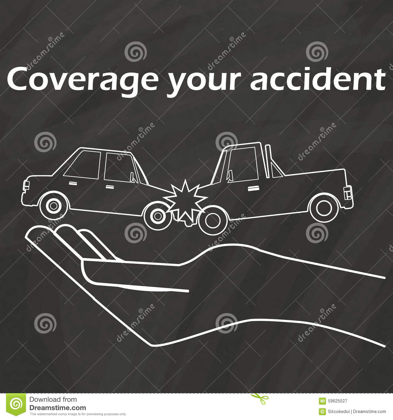 Car Crash On Hand To Draw With Chalk Stock Vector - Illustration of ...