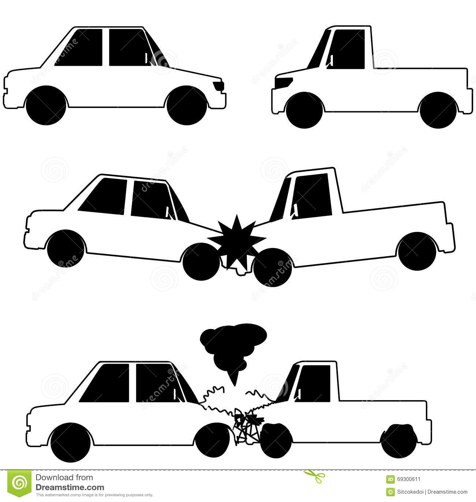 Car Crash Stock Vector Image 69300611