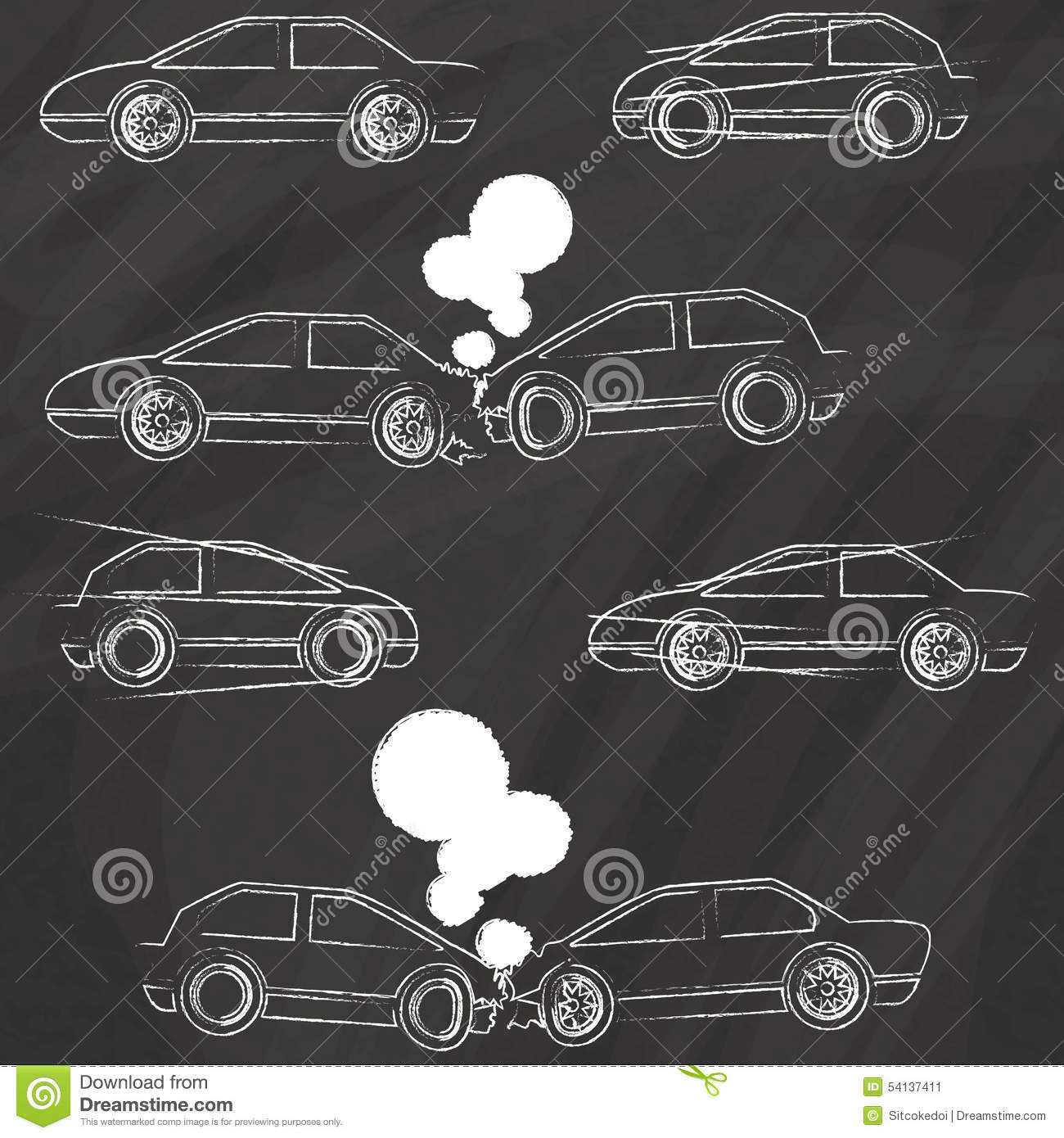 Car crash icons by chalk stock vector. Illustration of fire - 54137411