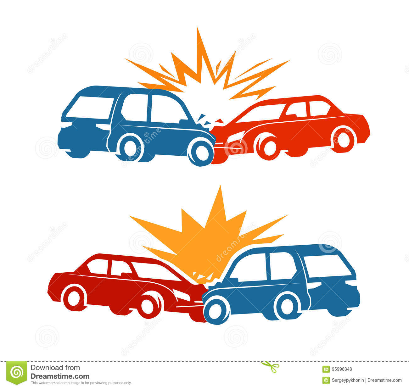 Car Crash, Traffic Accident Icon. Vector Illustration Stock Vector ...