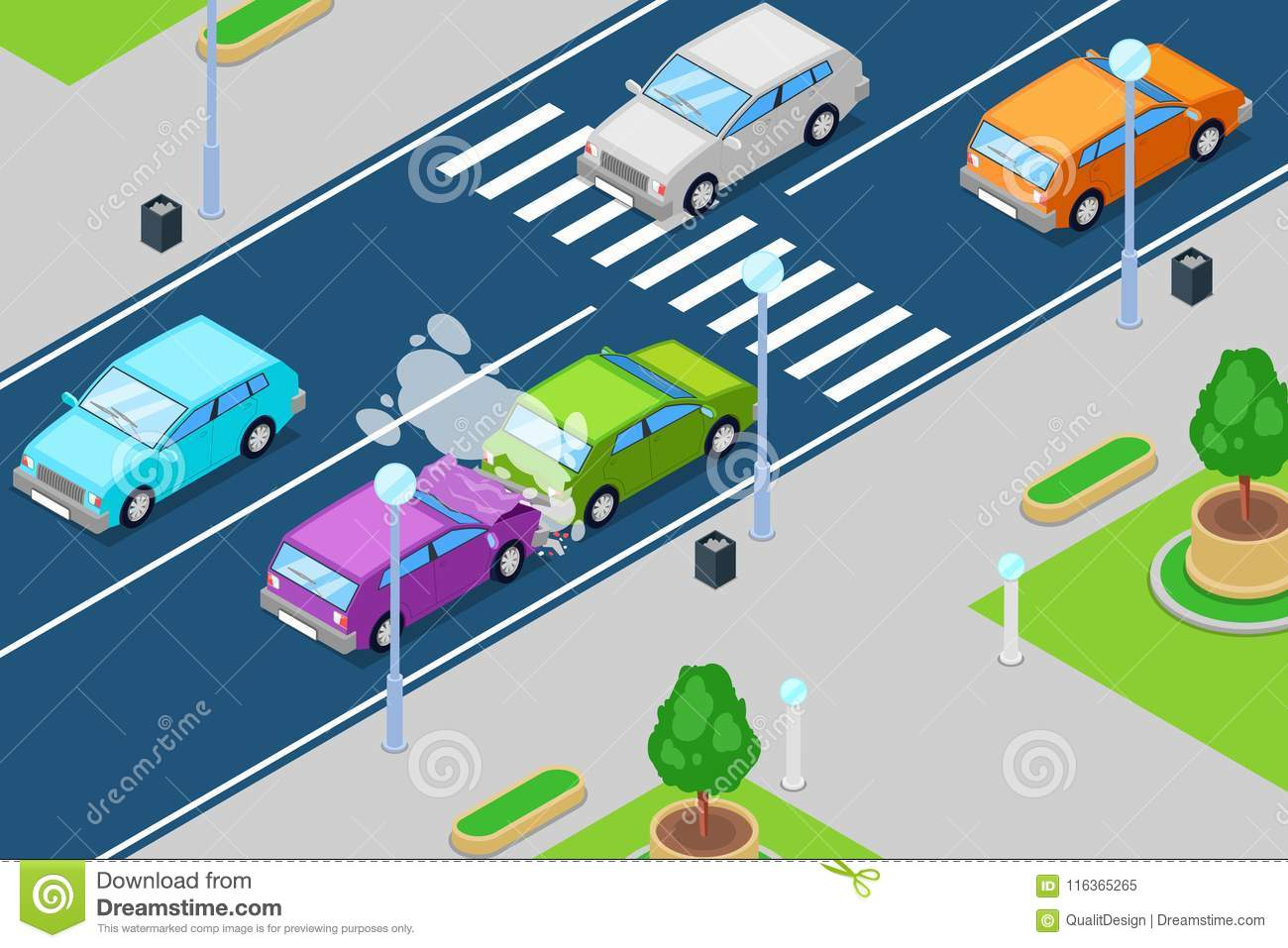 Car Crash, Vector Isometric 3D Illustration. Accident In Front Of ...