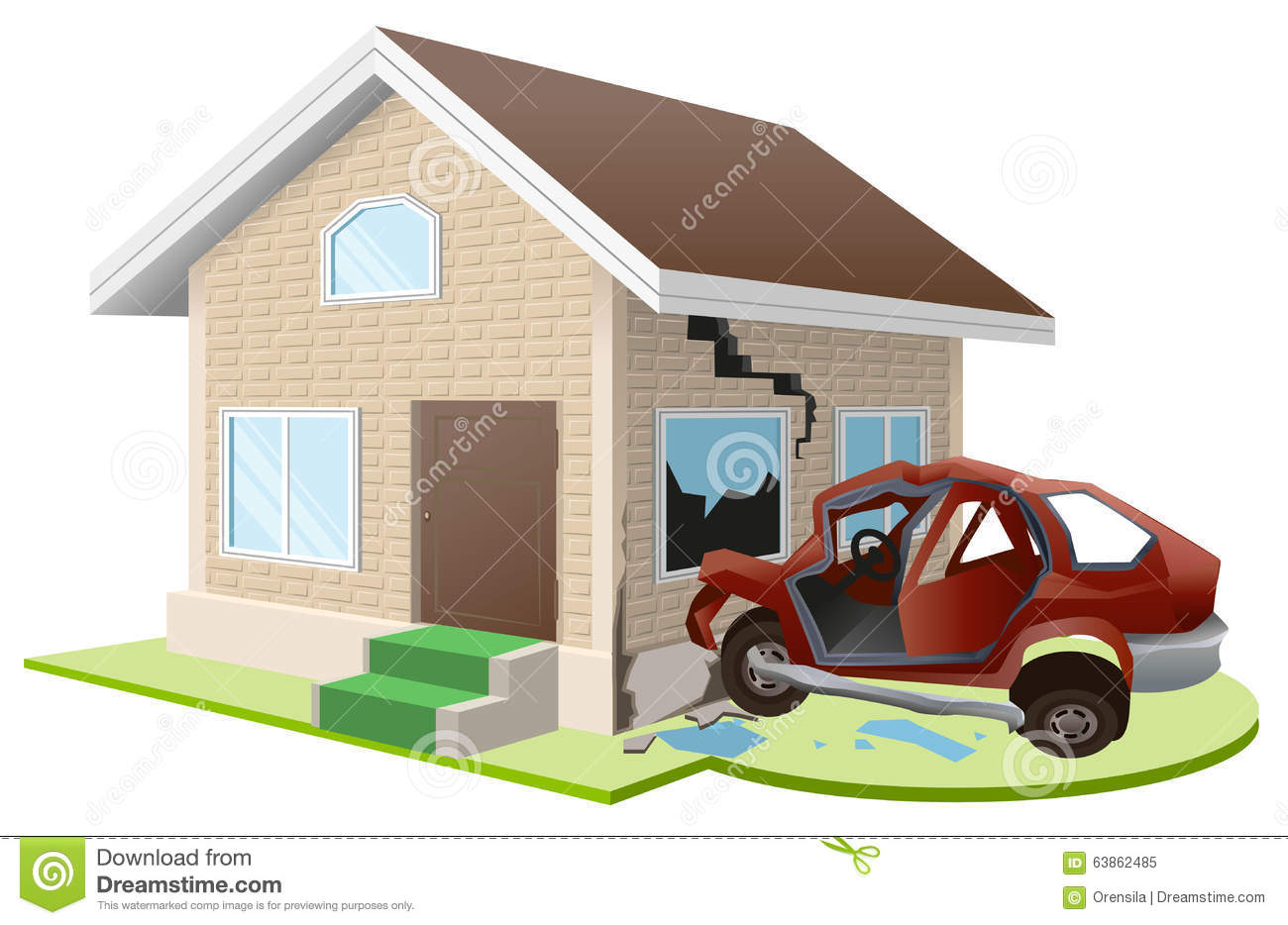 Car And Home Insurance >> Car Crashed Into House Home Insurance Stock Vector