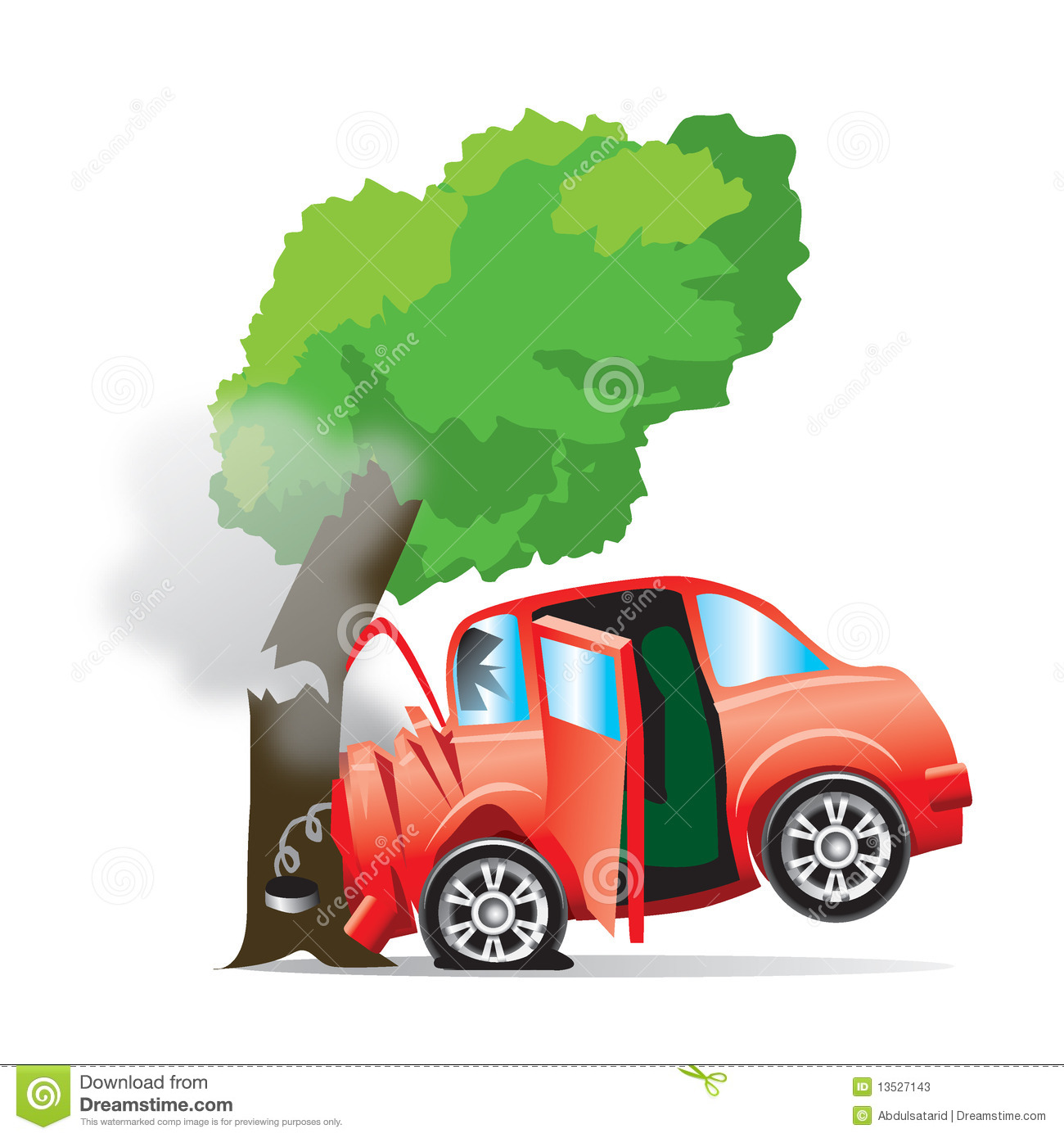 Car Crashes Into Tree Cartoon