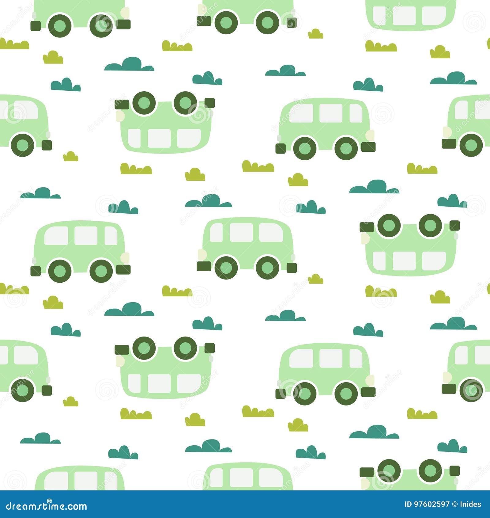9cf7354b0ac3c Car Cute Baby Vector Green Scandinavian Seamless Pattern. Stock ...