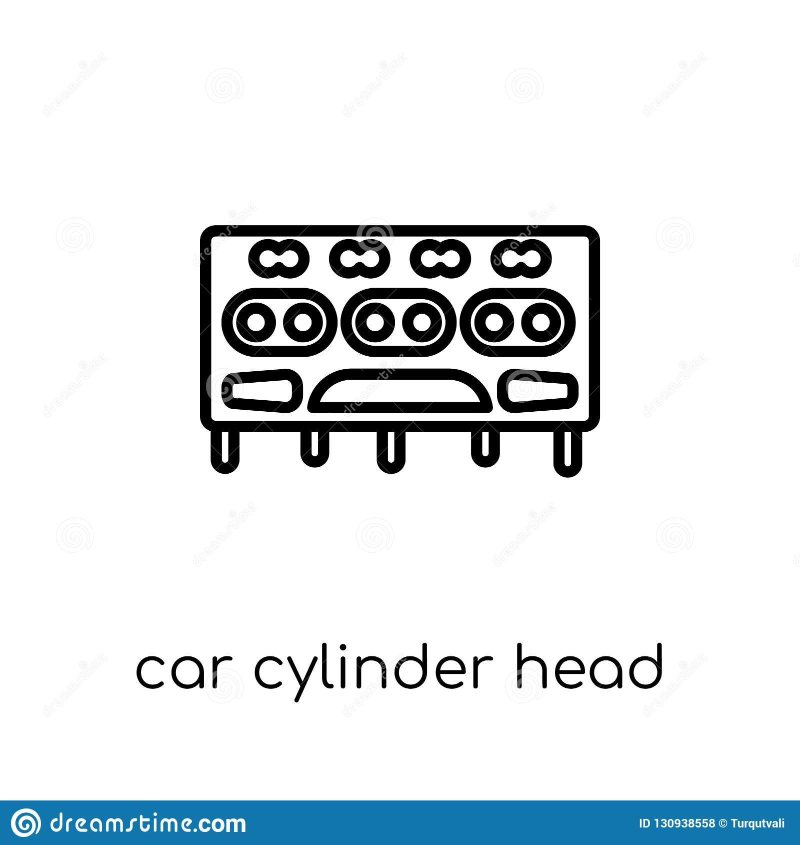 Car Cylinder Head Icon From Car Parts Collection Stock Vector