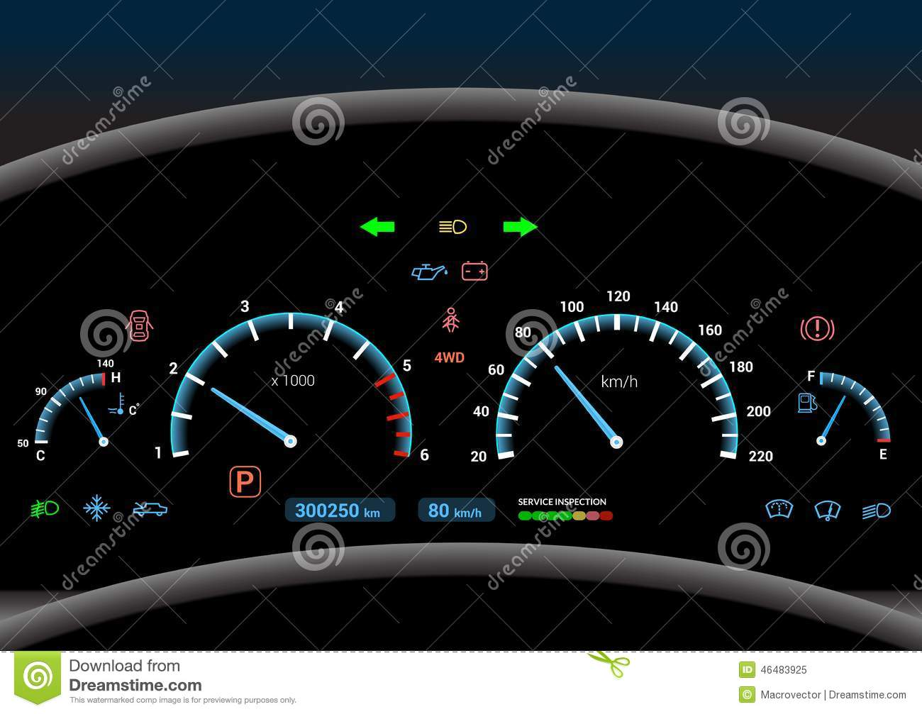 Vehicle Control Panel : Car dashboard background stock vector image
