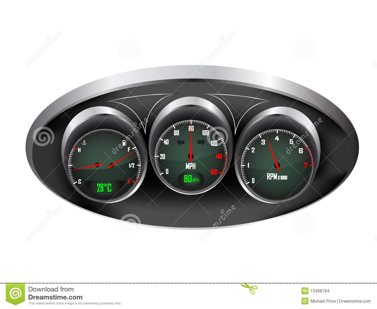 Car Dashboard Dials Stock Images - Image: 13468784