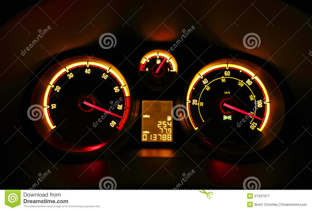 Car Dashboard Dials At Night Stock Image Image 27237977