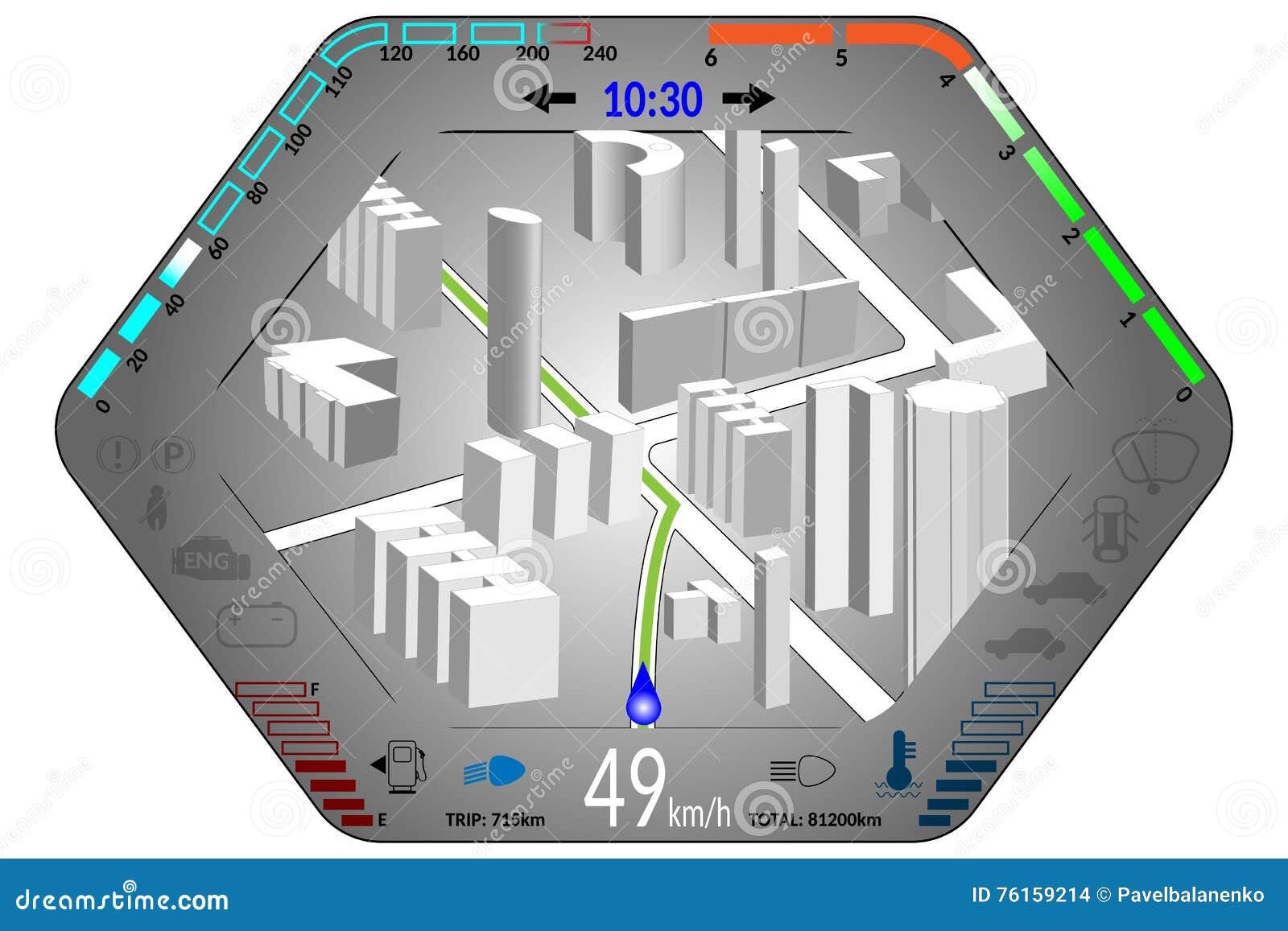 Car Dashboard With Gps Navigation Stock Illustration Diagram