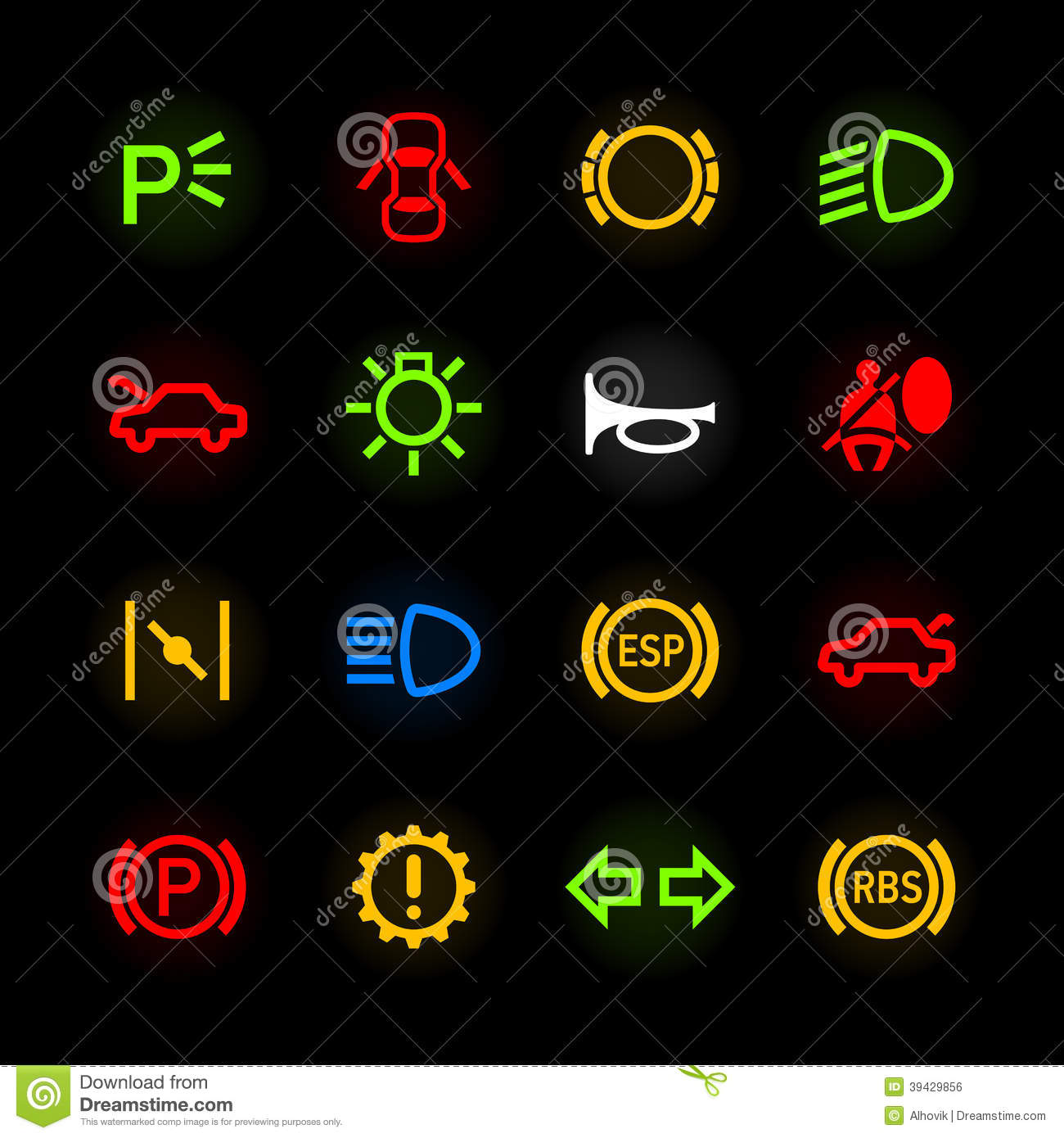 Car Dashboard Icons Stock Vector Image 39429856