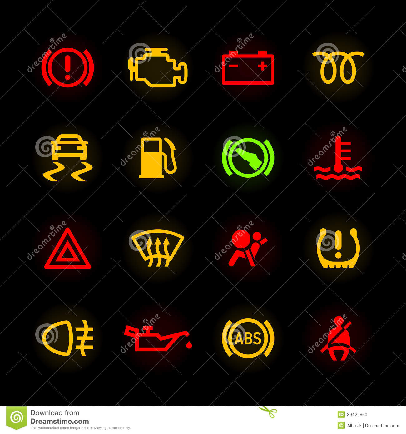 Car Dashboard Icons Stock Photo Image Of Motor Alertness