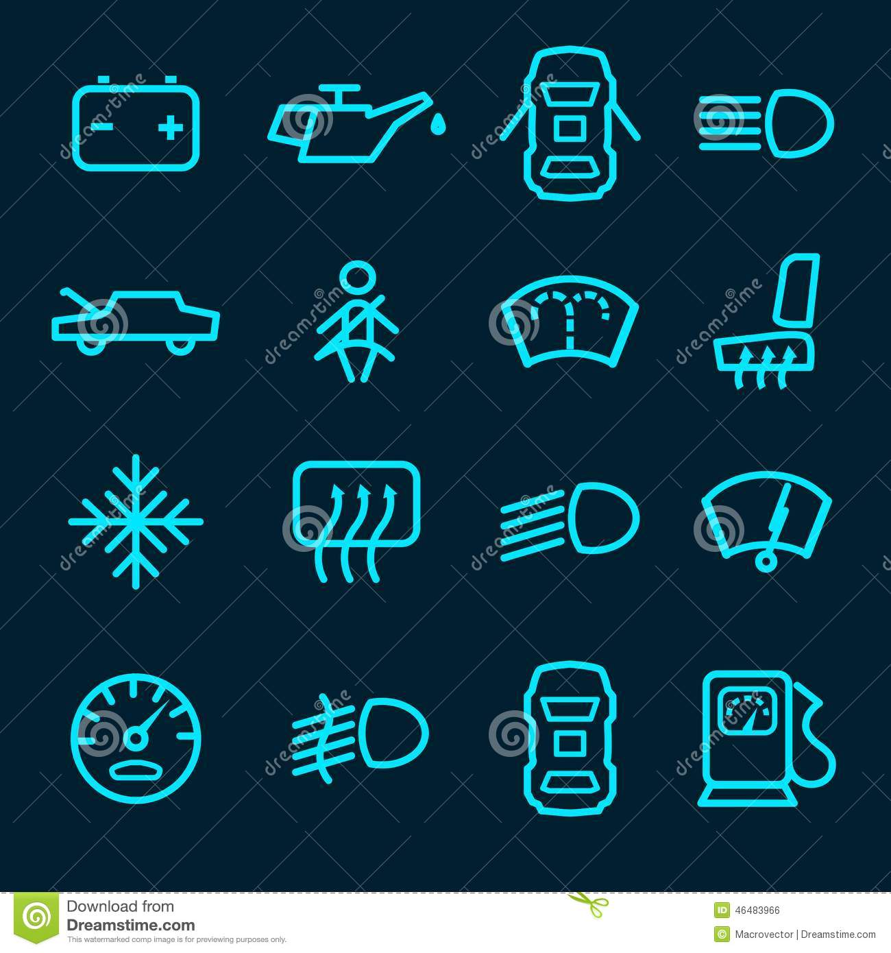 Car Dashboard Icons Stock Vector Illustration Of Internet 46483966