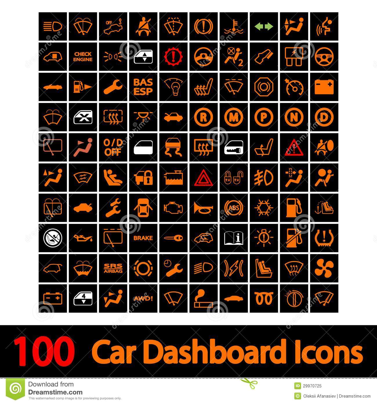 100 Car Dashboard Icons Stock Vector Illustration Of
