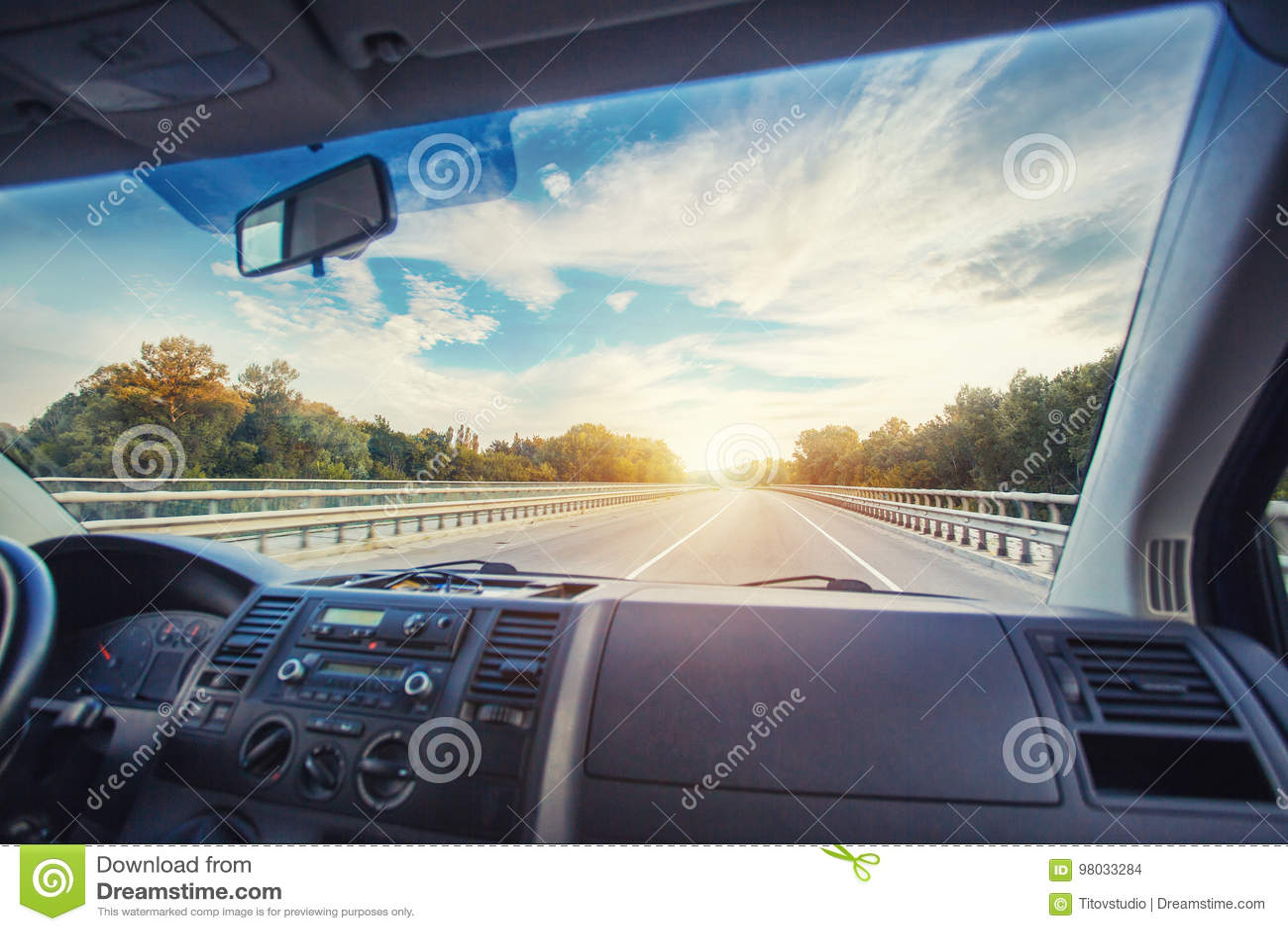 Car dashboard and steering wheel inside of car