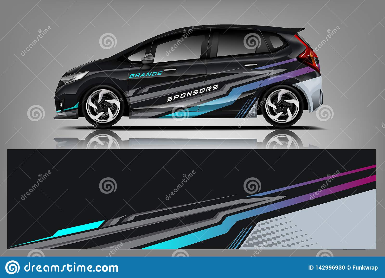 Car decal wrap design graphic abstract stripe racing background kit designs for vehicle race car rally adventure and livery vector