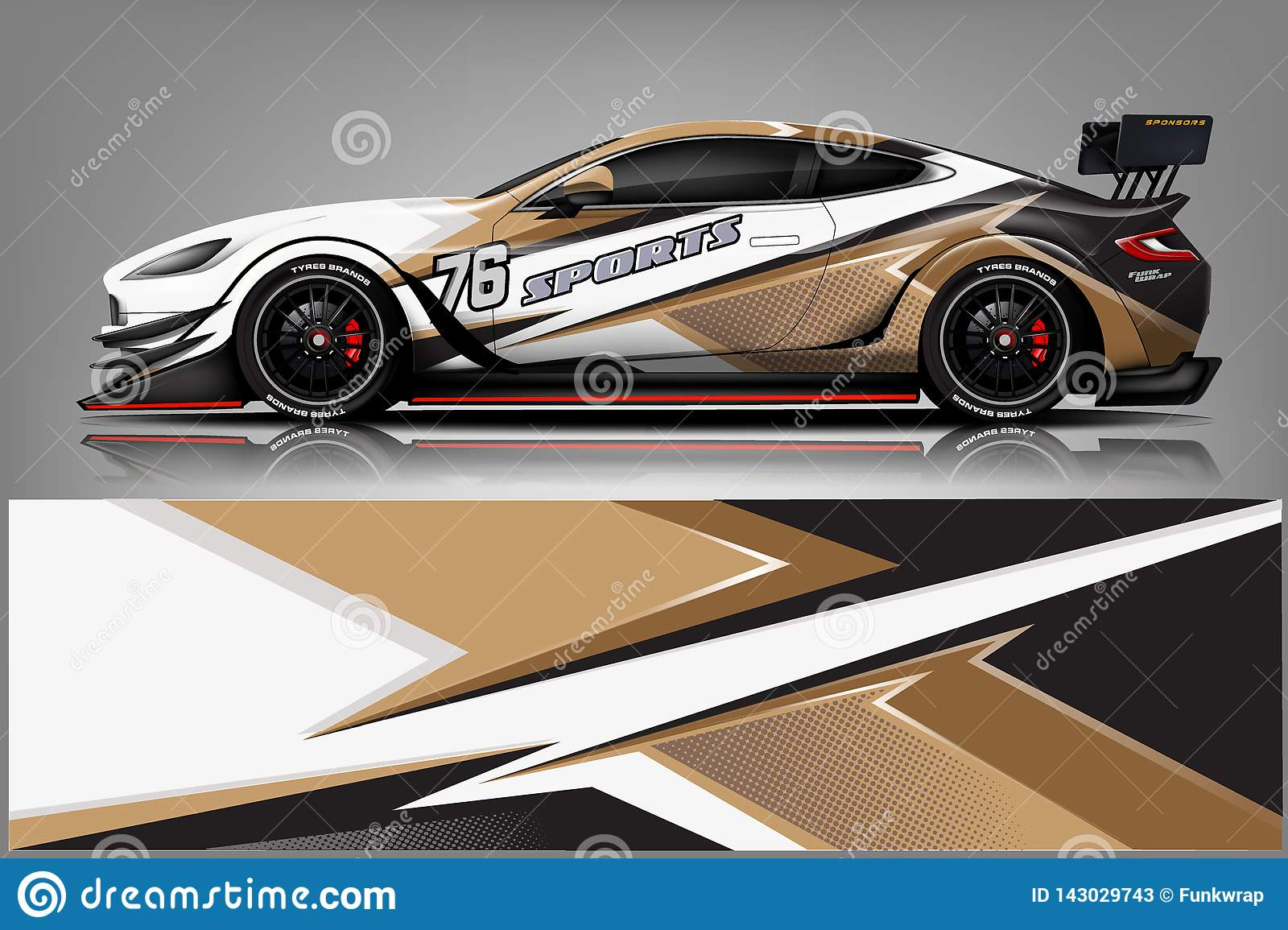 Car decal wrap design vector. Graphic abstract stripe racing background kit designs for vehicle, race car, rally, adventure and li