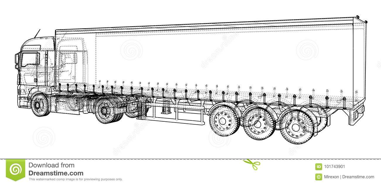 Car Delivery Semi Truck Trailer Wire Frame Eps10 Format Vector How To A Download Rendering