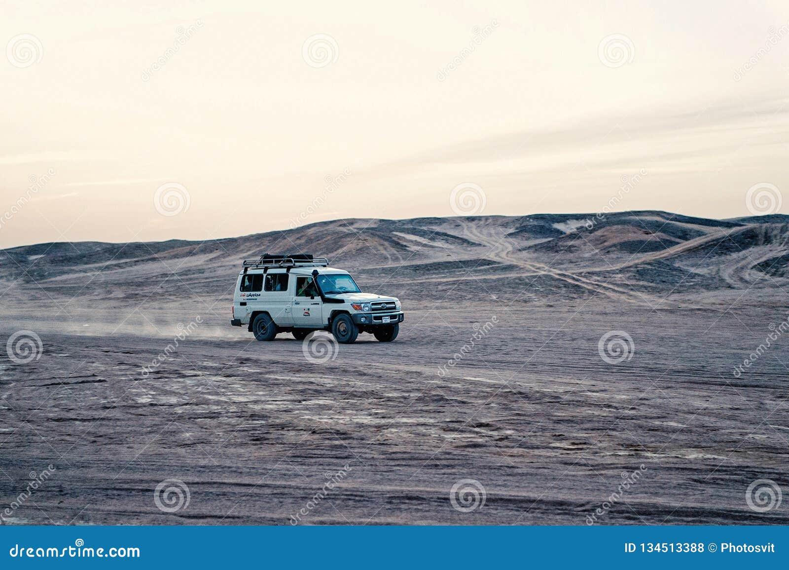 Car in desert, Hurghada, Egypt