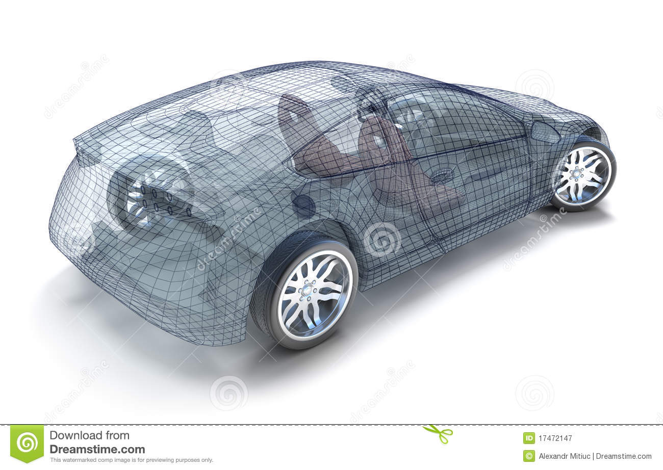 Design of car model - Car Design Wireframe Model Royalty Free Stock Photography