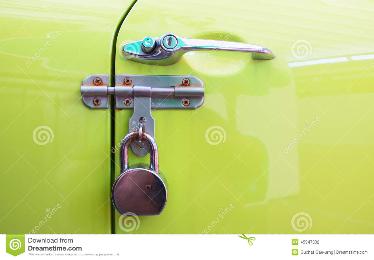 Car Door Handle Color Metal Locksecurity Protection Padlock Stock Diagram