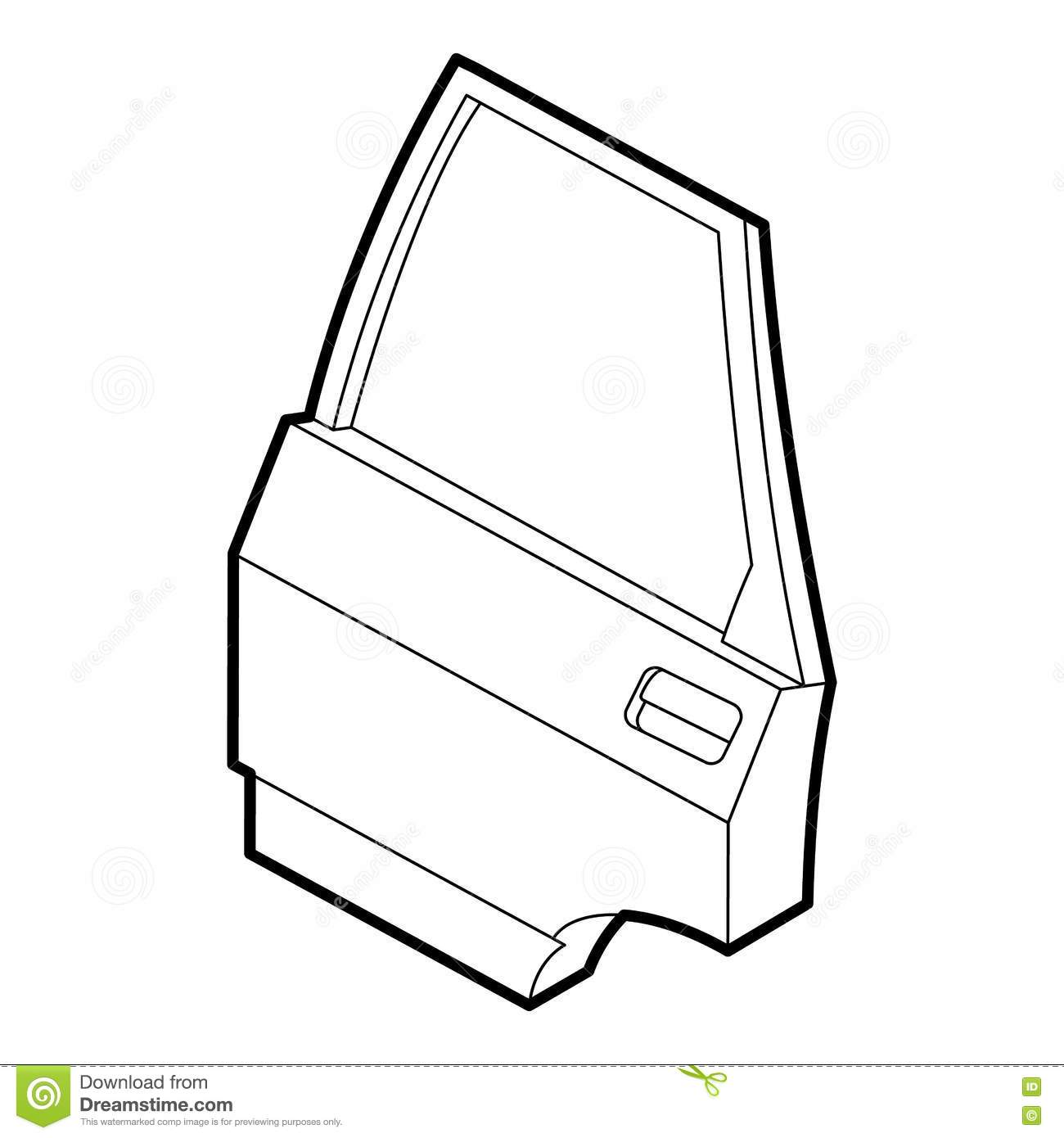 Car Door Icon Outline Style Stock Vector Illustration Of Lacquer Diagram