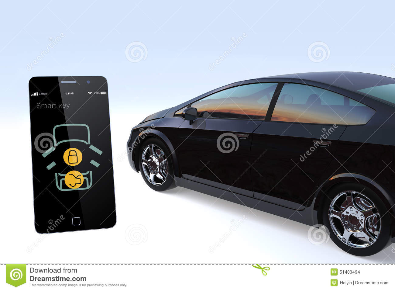 car door lock and unlock by smart phone stock illustration illustration of button auto 51403494. Black Bedroom Furniture Sets. Home Design Ideas