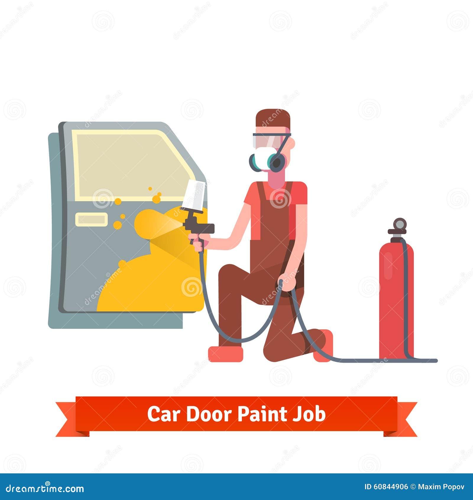 Cost Exterior Paint Job Painting Prices Professional: Car Door Paint Job Stock Vector
