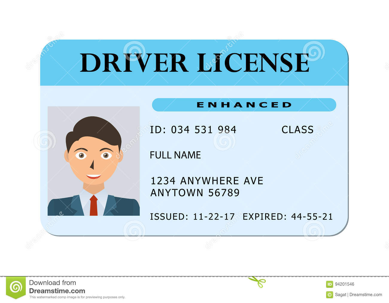 Stock - Illustration Card Of 94201546 Driver Form Vector Licence Car