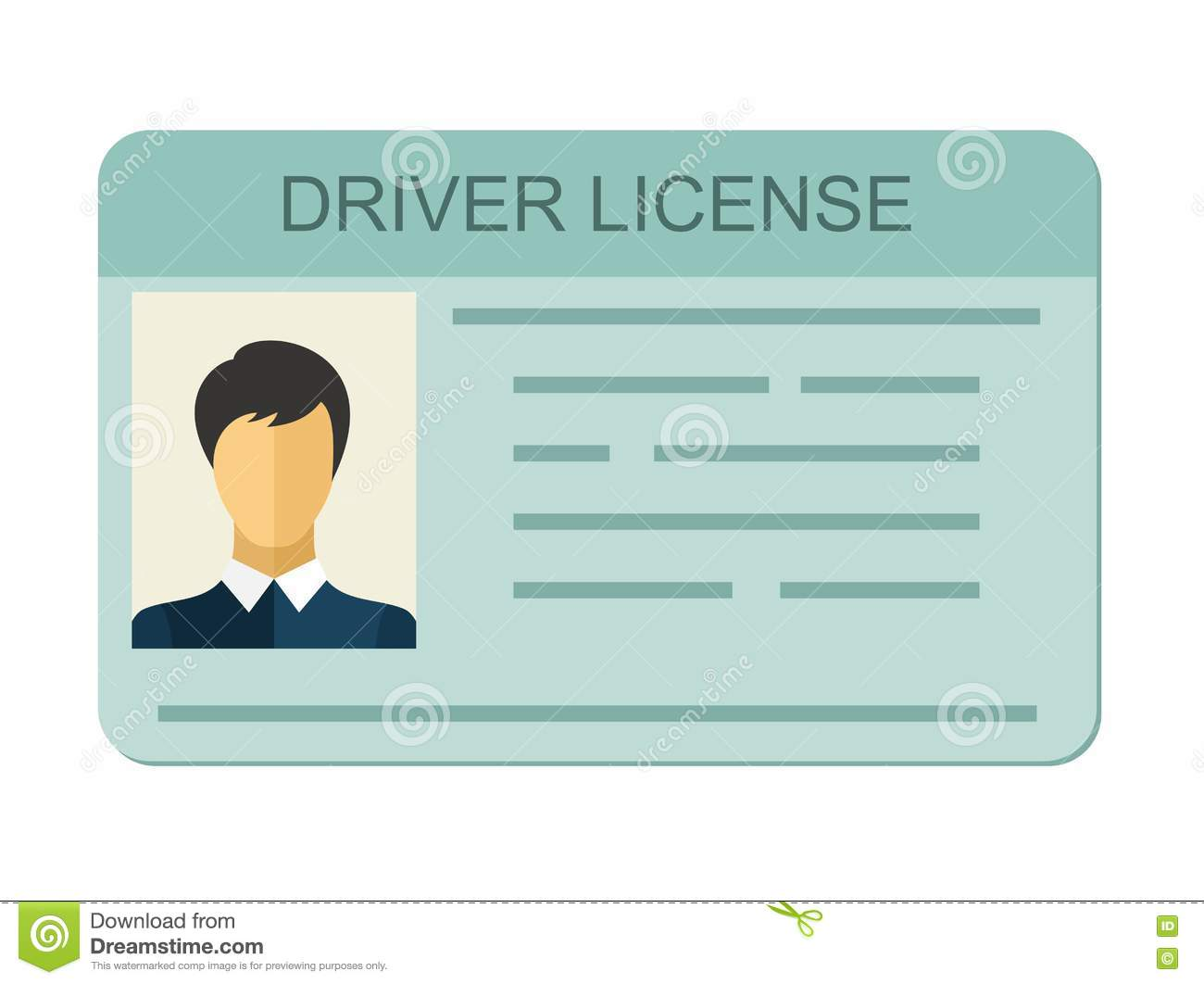 Car Driver License Identification With Photo Isolated On