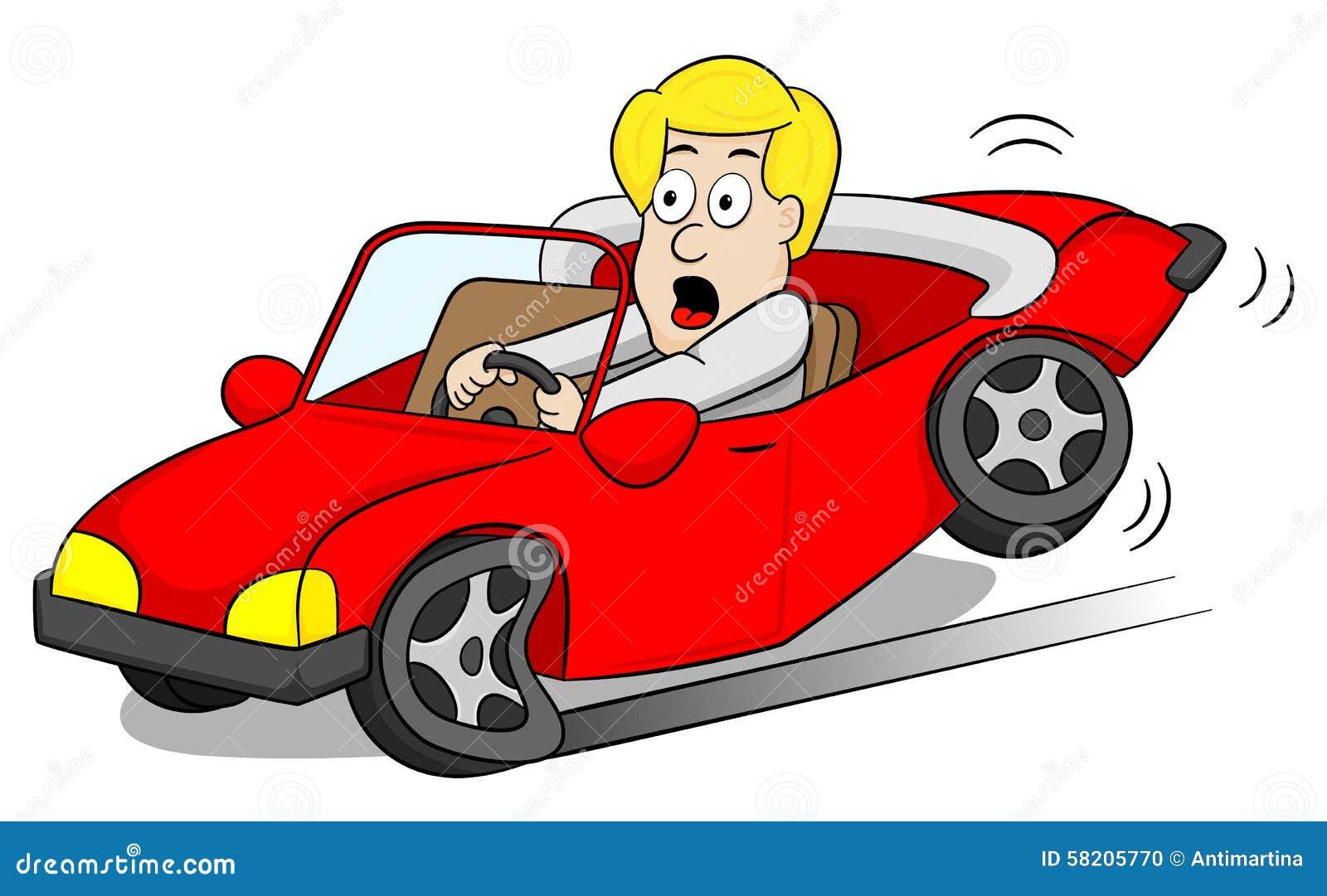 Old Cartoon Driving Broken Car