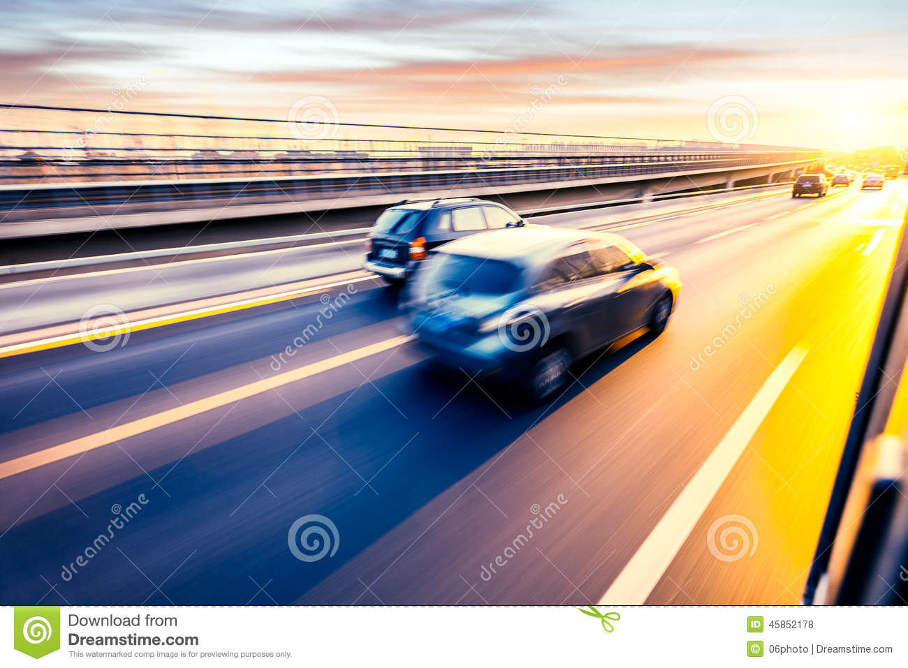Car driving on freeway, motion blur