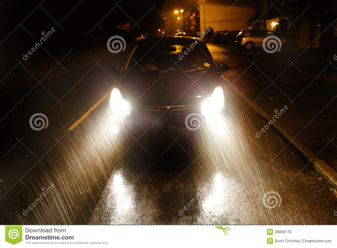car driving in heavy rain stock photo image of night 28858170. Black Bedroom Furniture Sets. Home Design Ideas