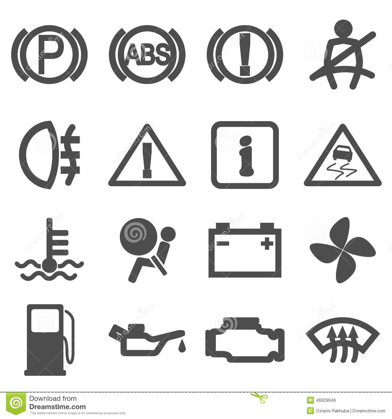 Car Driving Icons Stock Vector Image 46929946