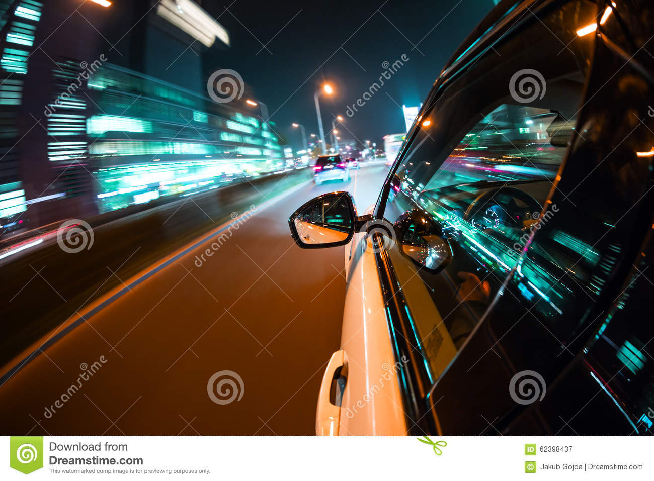 Woman Driving Car Motion Blur