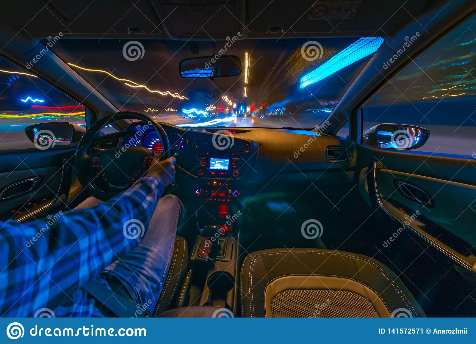 Car driving at night stock image  Image of highway, curve
